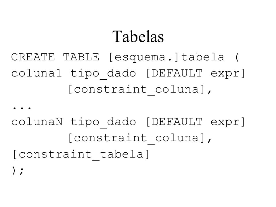 Tabelas CREATE TABLE [esquema.]tabela (